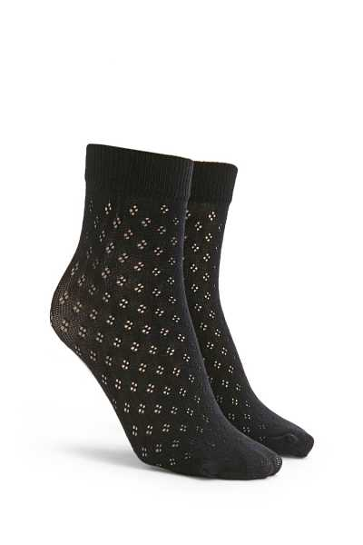 Forever21Perforated Crew Socks - Black UK - GOOFASH