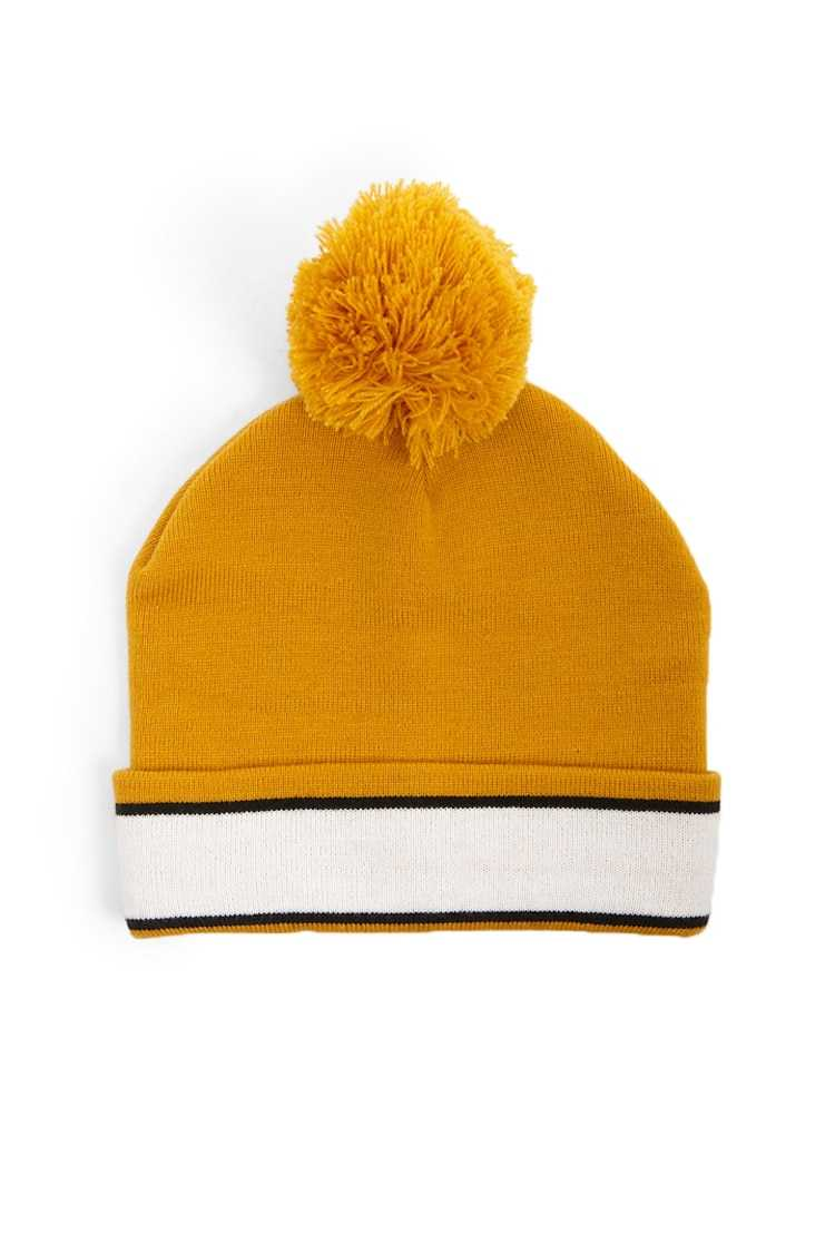 Forever21Striped Ribbed Beanie Hat - Mustard/Cream UK - GOOFASH