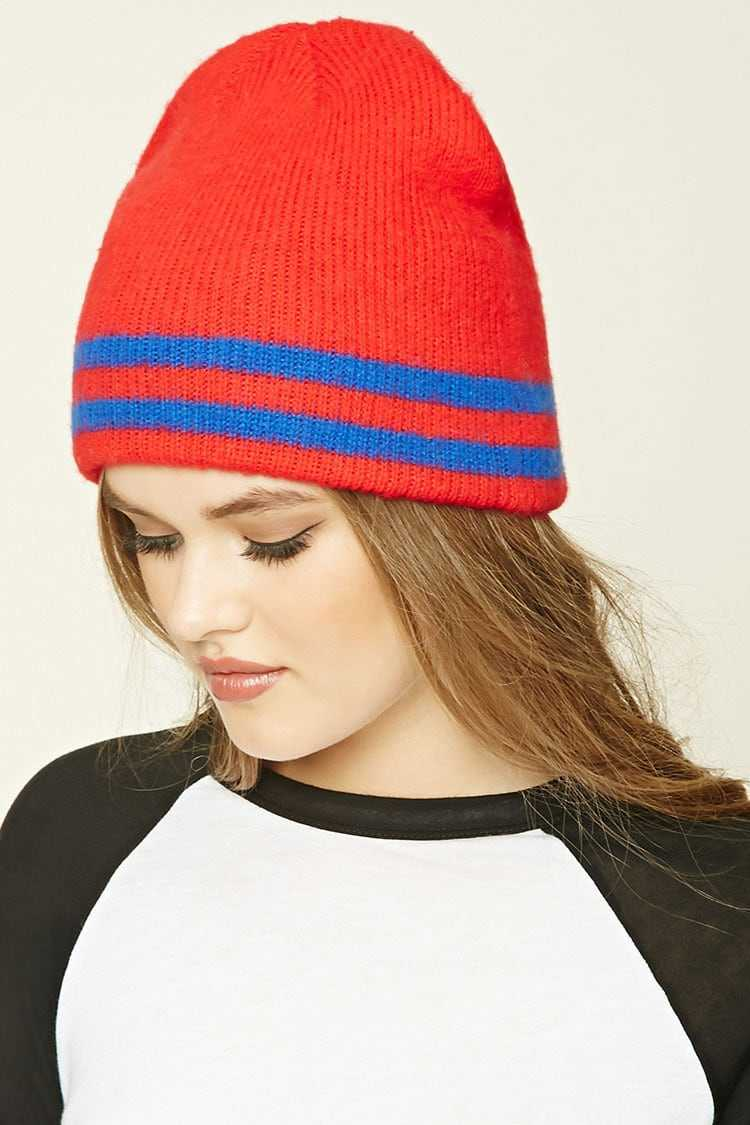 Forever21Striped Ribbed Knit Beanie Hat - Red/Blue UK - GOOFASH