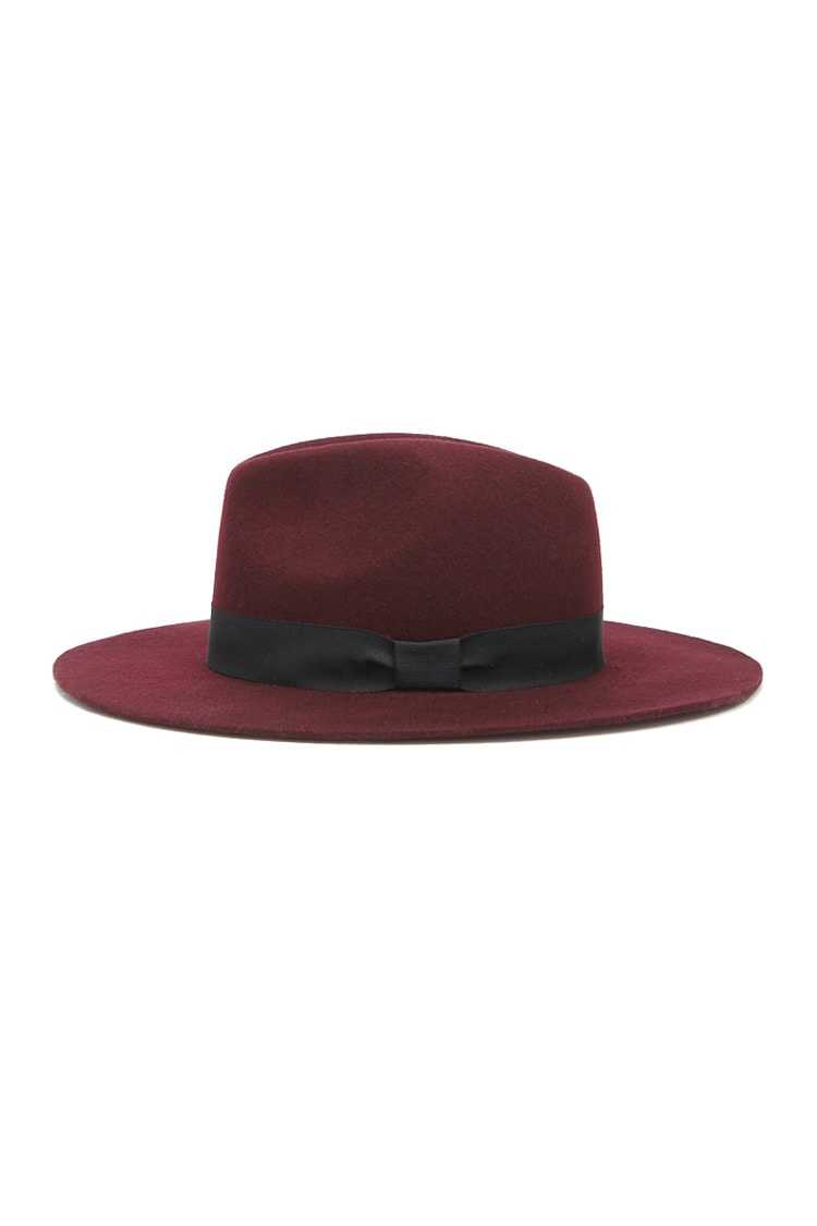 Forever21Wide-Brim Wool Fedora Hat - Burgundy/Black UK - GOOFASH