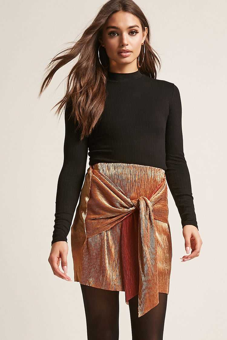 Forever21Women's Accordion Pleated Tie-Front Skirt - Rose Gold UK - GOOFASH