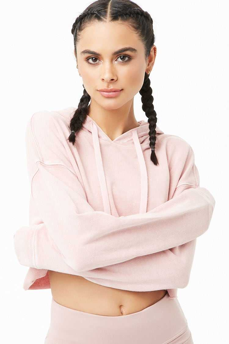 Forever21Women's Active French Terry Hoodie - Pink UK - GOOFASH