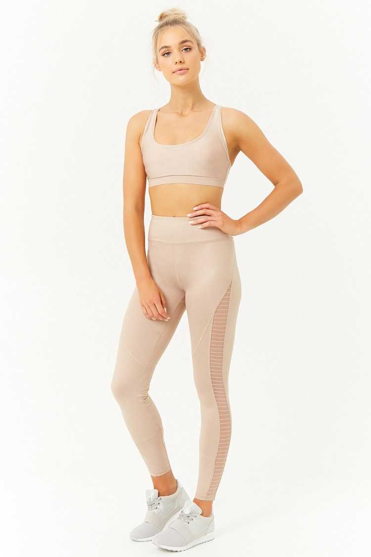 Forever21Women's Active Mesh-Panel Leggings - Camel UK - GOOFASH