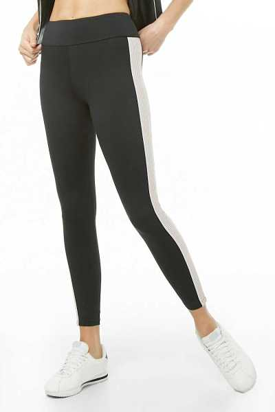 Forever21Women's Active Metallic Striped Leggings - Black/Rose Gold UK - GOOFASH