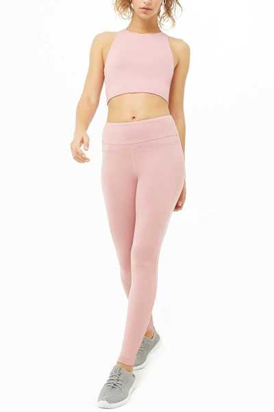 Forever21Women's Active Solid Leggings - Rose UK - GOOFASH