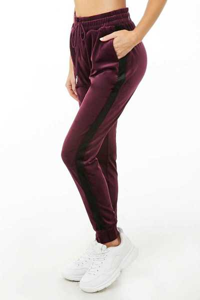 Forever21Women's Active Velour Jogger Pants - Plum/Black UK - GOOFASH