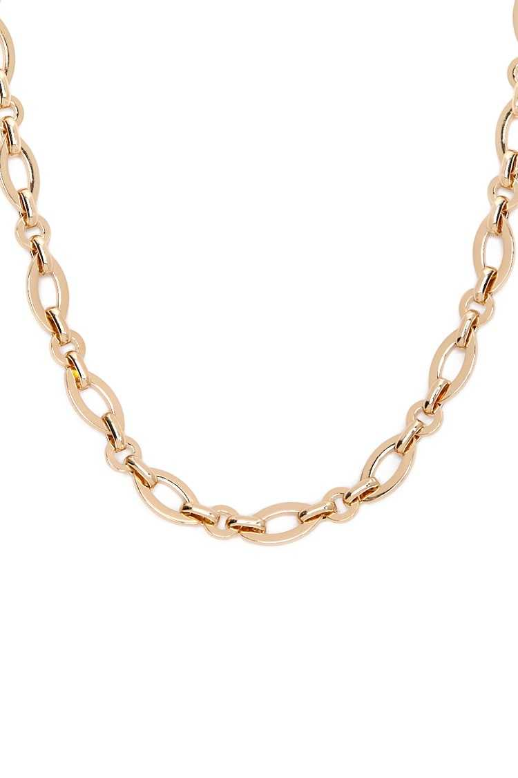 Forever21Women's Almond Link Chain Necklace - Gold UK - GOOFASH
