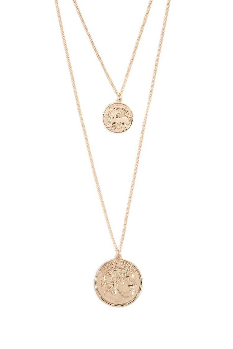 Forever21Women's Ancient Coin Pendant Layered Necklace - Gold UK - GOOFASH
