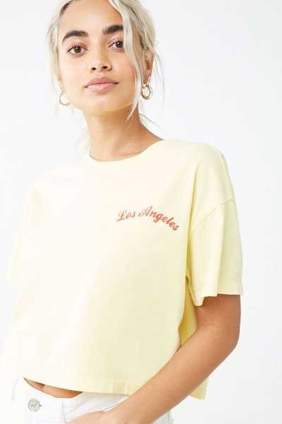 Forever21Women's Boxy Los Angeles Cropped Tee Shirt - Yellow/Red UK - GOOFASH