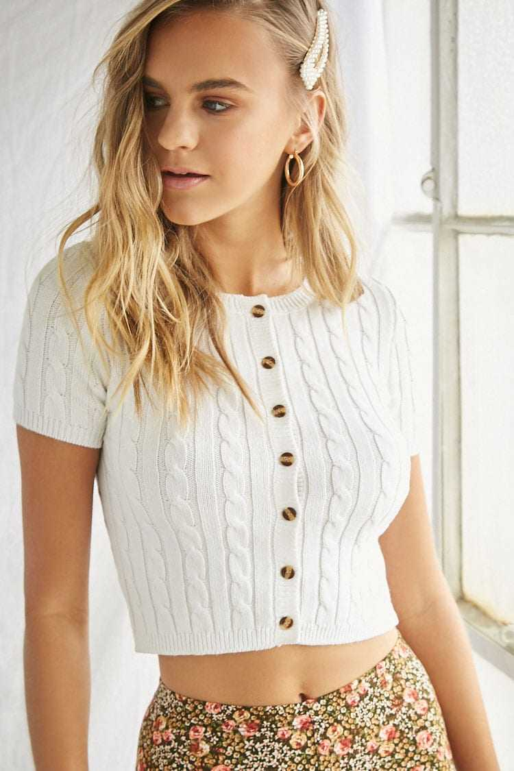 Forever21Women's Cable Knit Button-Front Crop Top - Ivory UK - GOOFASH