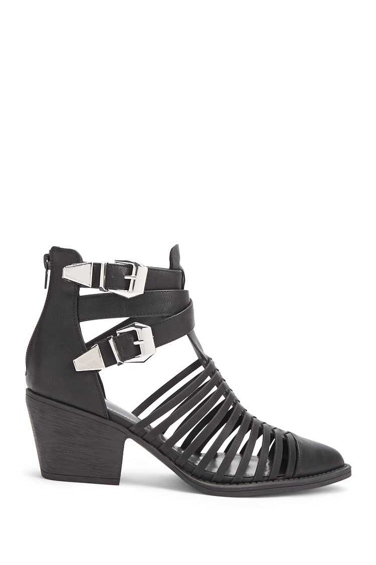 Forever21Women's Caged Ankle Boots - Black UK - GOOFASH