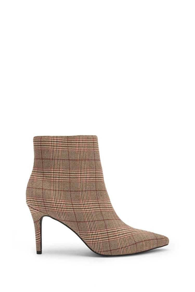 Forever21Women's Check Print Pointed Toe Boots - Red UK - GOOFASH