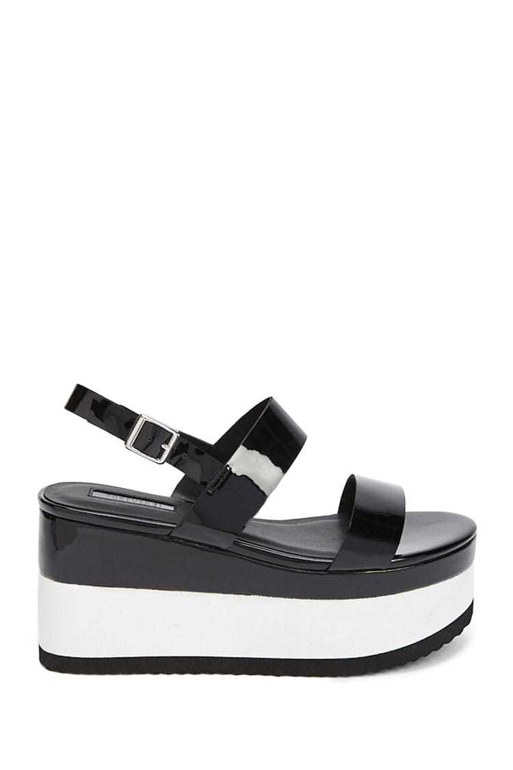 Forever21Women's Colorblock Faux Patent Leather Wedges - Black UK - GOOFASH