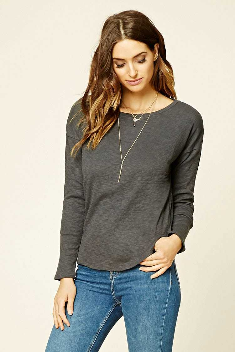Forever21Women's Contemporary Ribbed Knit Top - Charcoal UK - GOOFASH