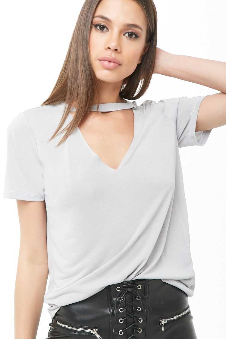 Forever21Women's Contrast-Stitched Cutout Tee Shirt - Silver UK - GOOFASH