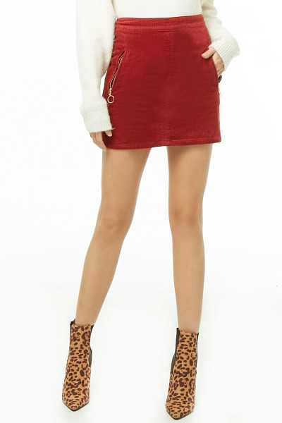 Forever21Women's Corduroy Zip-Pocket Skirt - Rust UK - GOOFASH