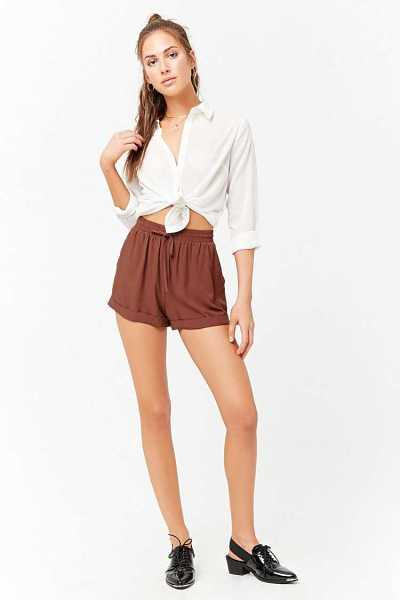 Forever21Women's Cuffed Drawstring Shorts - Rust UK - GOOFASH