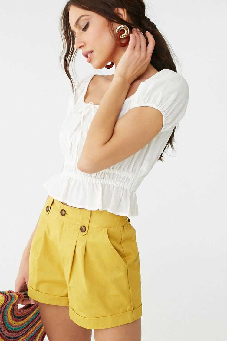 Forever21Women's Cuffed Pleated Shorts - Mustard UK - GOOFASH