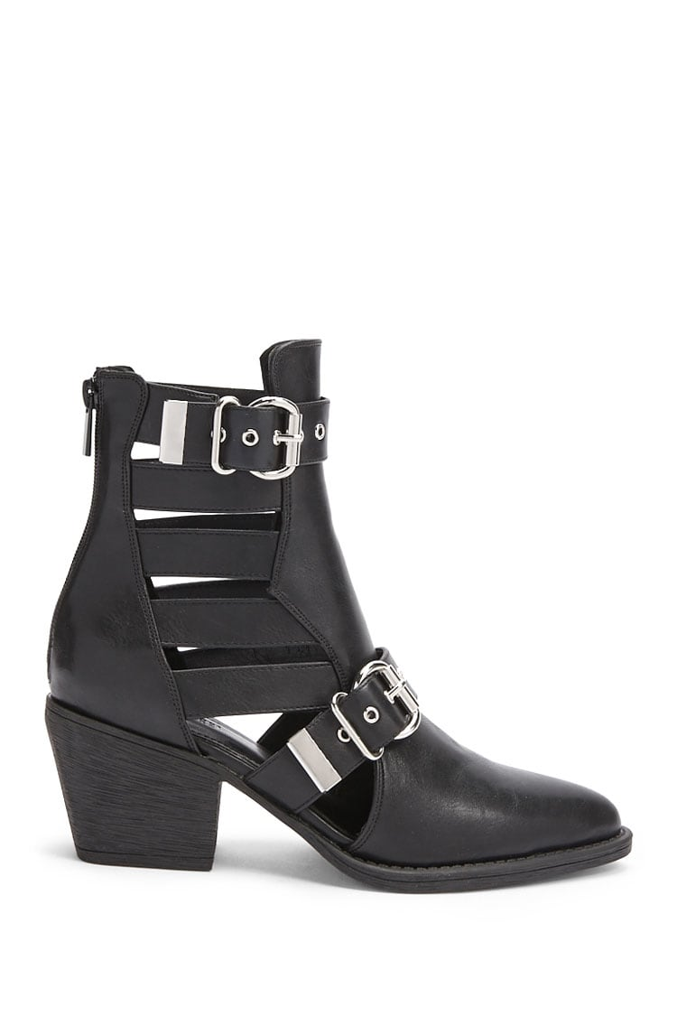 Forever21Women's Cutout Strap Ankle Boots - Black UK - GOOFASH