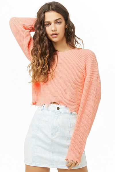 Forever21Women's Distressed Hooded Ribbed Knit Sweater - Peach UK - GOOFASH