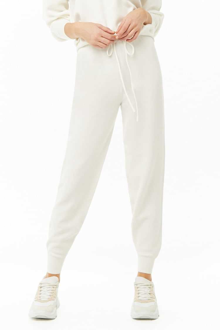 Forever21Women's Drawstring Knit Jogger Pants - Cream UK - GOOFASH