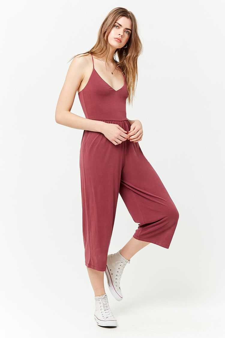 Forever21Women's Faded Gauchos Jumpsuit - Berry UK - GOOFASH