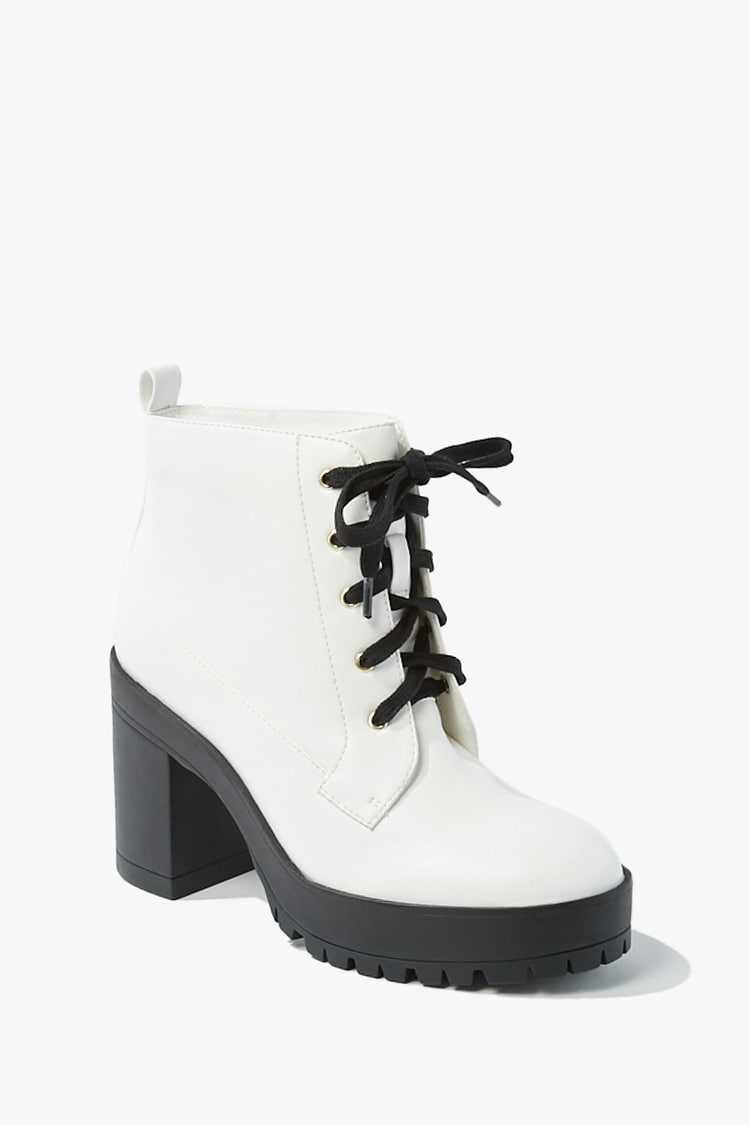 Forever21Women's Faux Leather Lace-Up Ankle Booties - White UK - GOOFASH