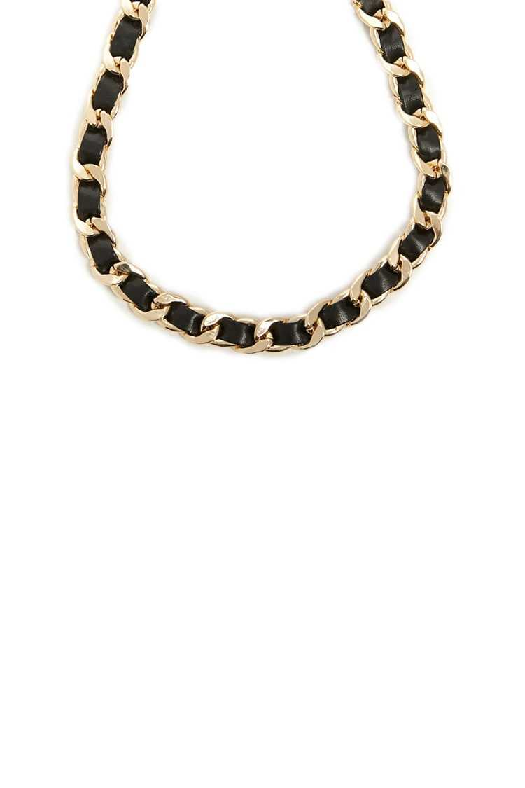 Forever21Women's Faux Leather & Link Chain Necklace - Gold/Black UK - GOOFASH