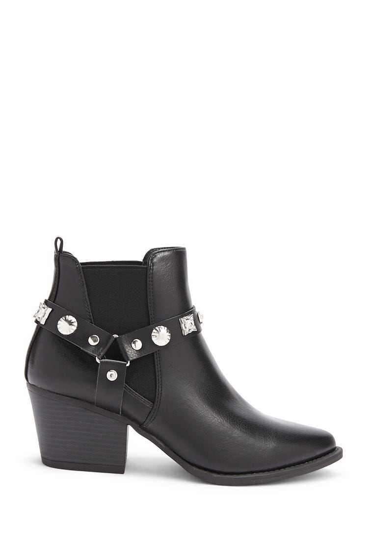 Forever21Women's Faux Leather Studded Ankle Boots - Black UK - GOOFASH