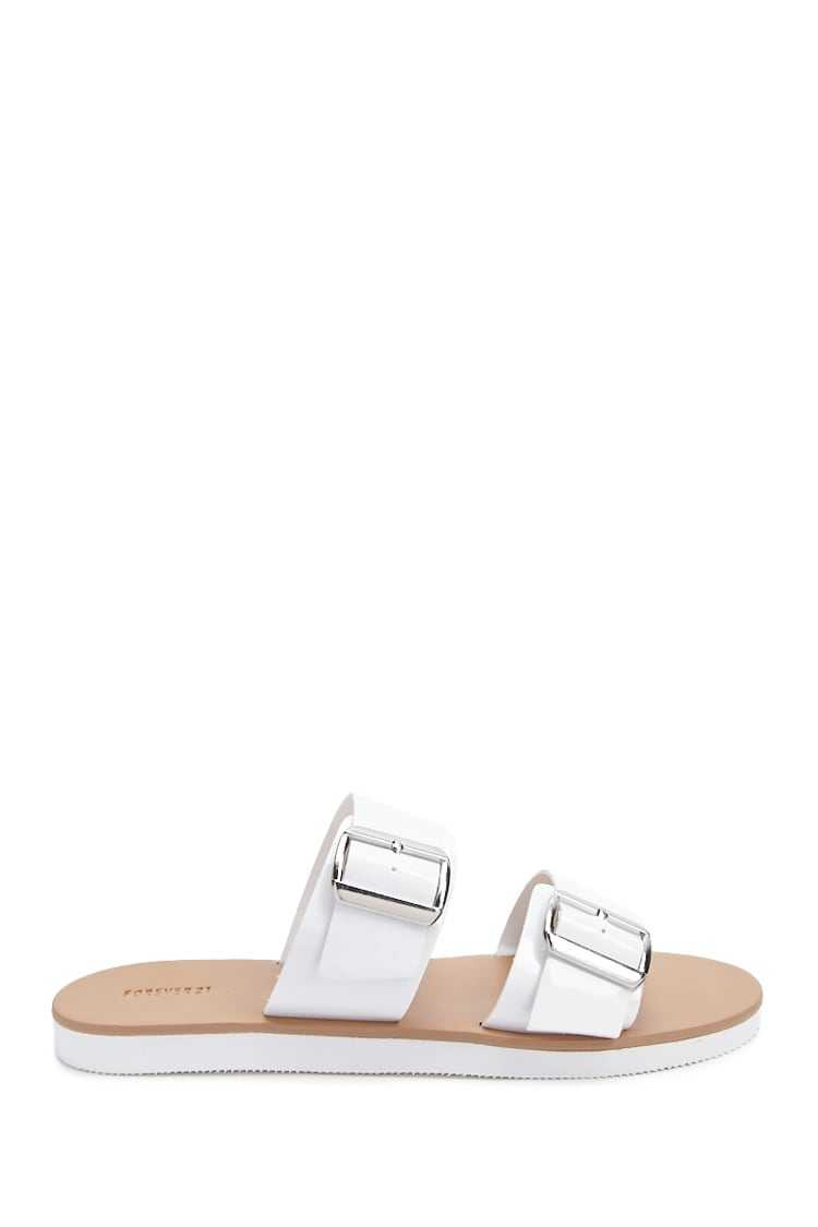 Forever21Women's Faux Patent Leather Sandals - White UK - GOOFASH