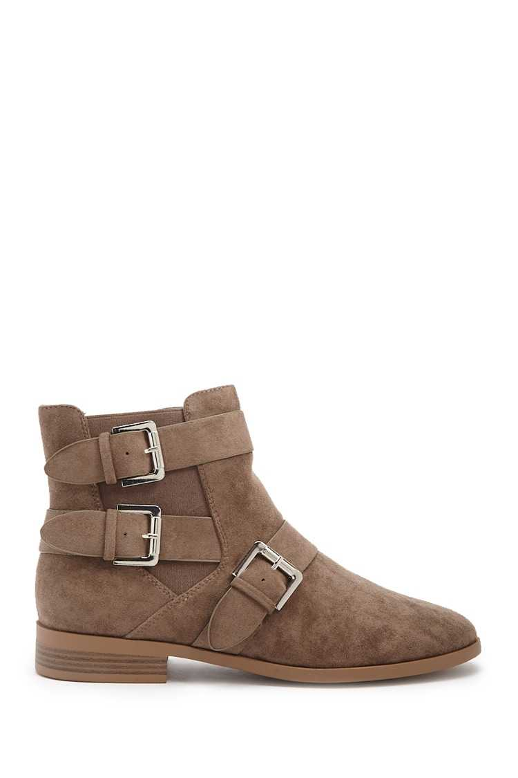 Forever21Women's Faux Suede Ankle Booties - Grey UK - GOOFASH
