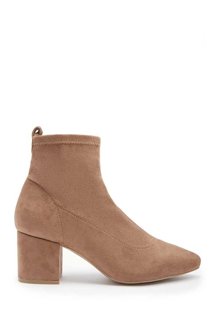 Forever21Women's Faux Suede Ankle Sock Booties - Taupe UK - GOOFASH