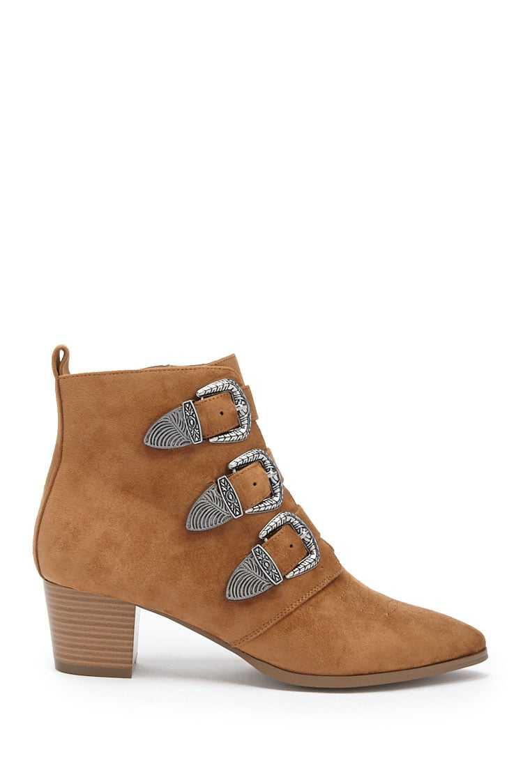 Forever21Women's Faux Suede Buckle Ankle Booties - Tan UK - GOOFASH
