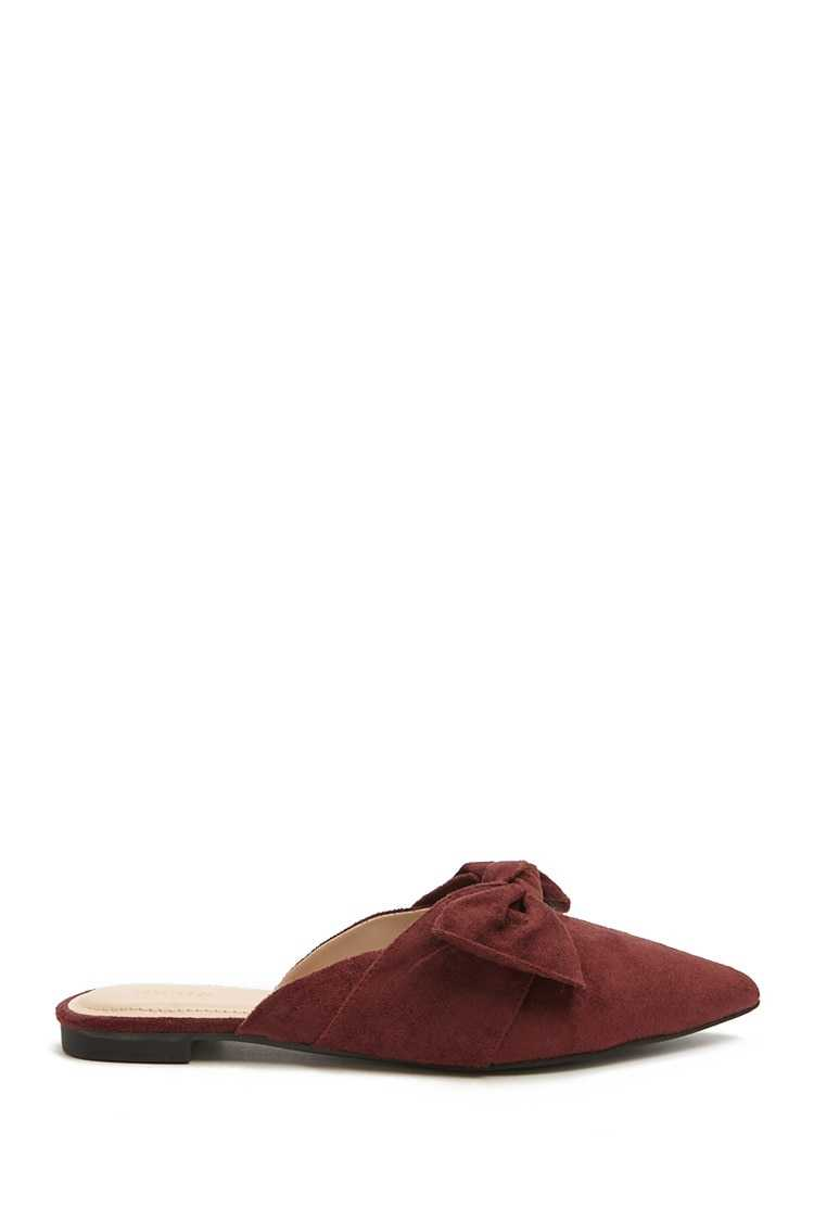 Forever21Women's Faux Suede Flats - Burgundy UK - GOOFASH