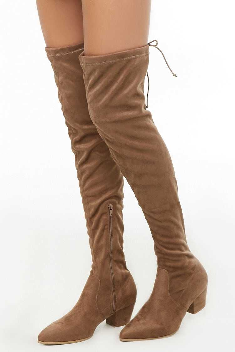 Forever21Women's Faux Suede Over-the-Knee Sock Boot - Taupe UK - GOOFASH