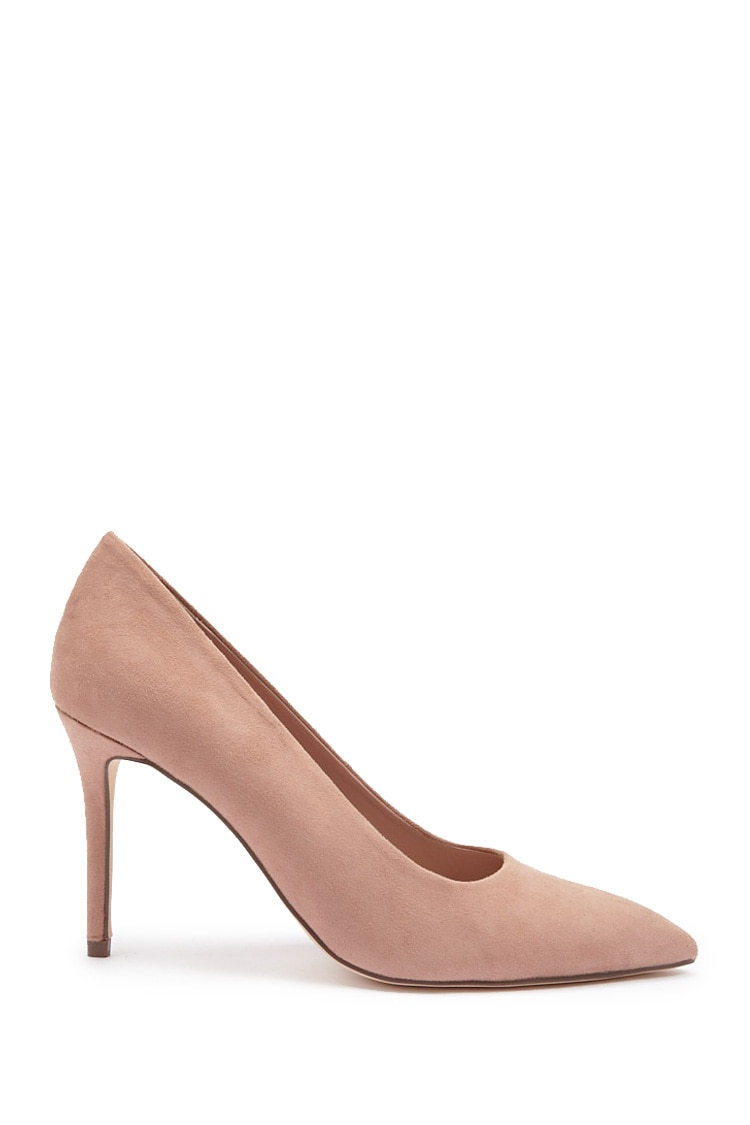 Forever21Women's Faux Suede Pointed Toe Pumps - Blush UK - GOOFASH