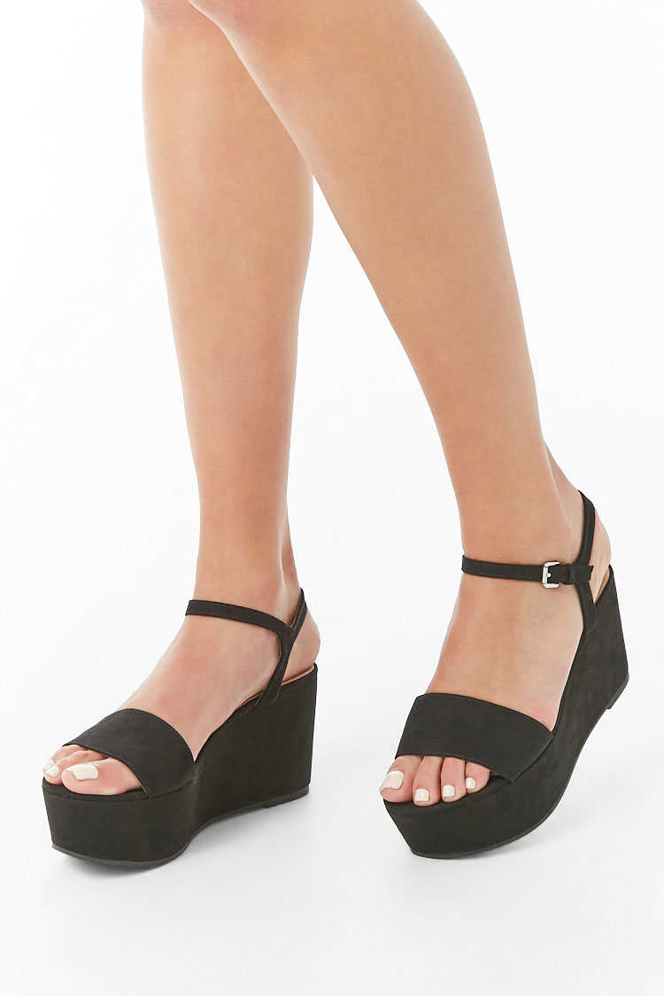 Forever21Women's Faux Suede Wedges - Black UK - GOOFASH