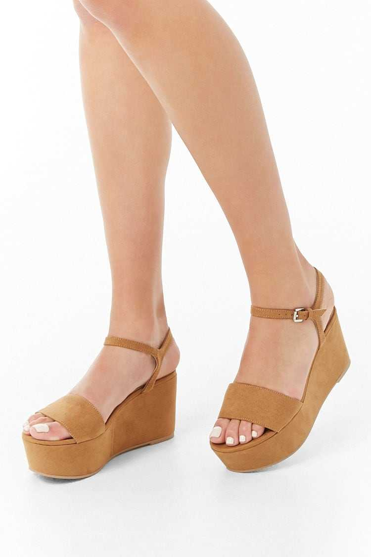 Forever21Women's Faux Suede Wedges - Brown UK - GOOFASH