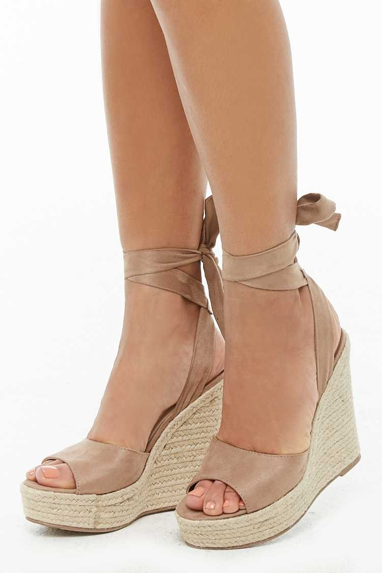 Forever21Women's Faux Suede Wedges - Taupe UK - GOOFASH