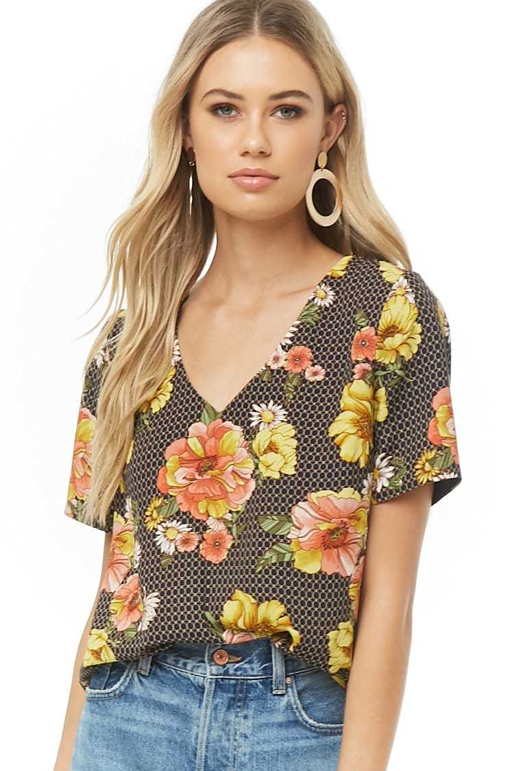 Forever21Women's Floral & Geo Print Top - Navy/Multi UK - GOOFASH