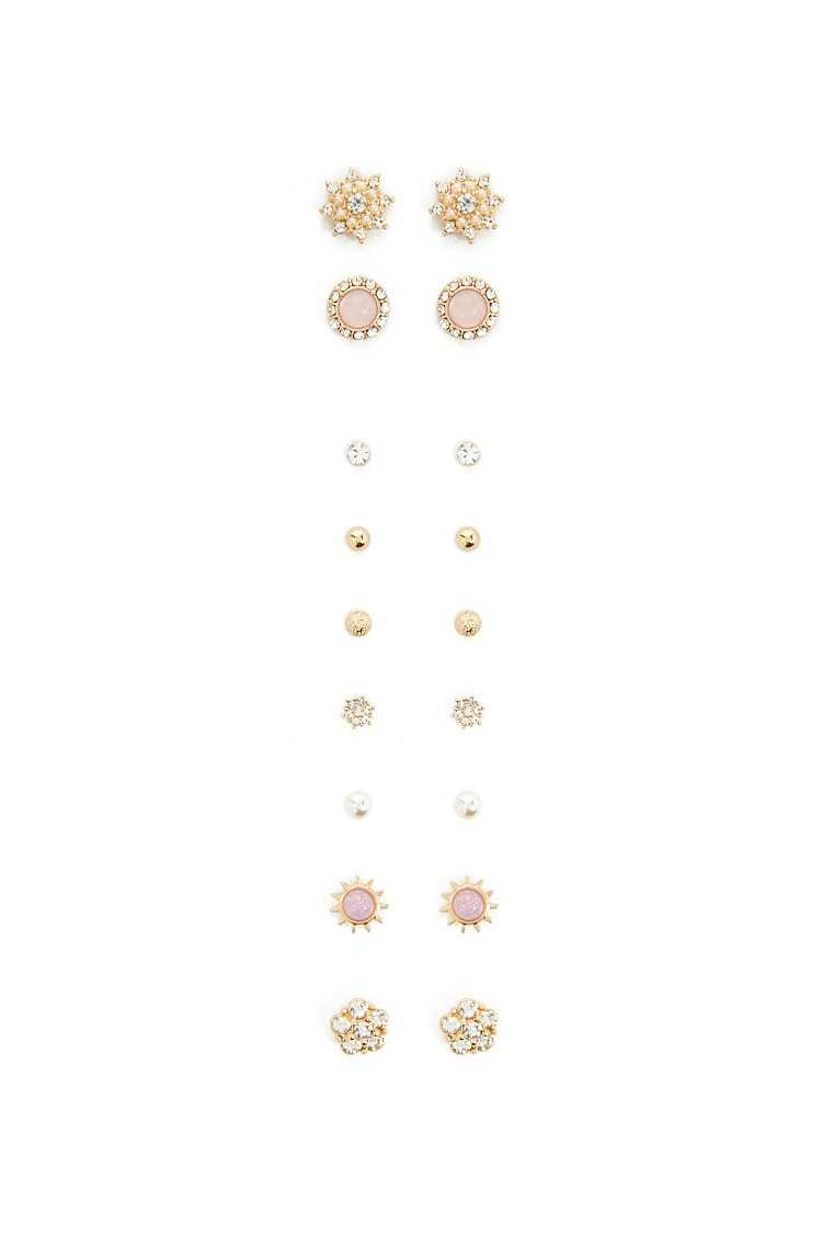Forever21Women's Floral Stud Earring Set - Gold/Clear UK - GOOFASH