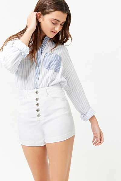 Forever21Women's High-Waist Denim Shorts - White UK - GOOFASH