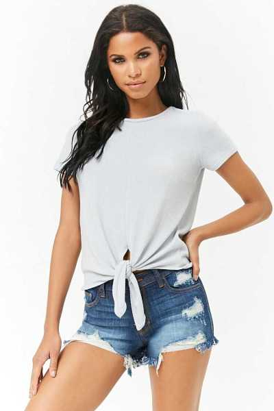 Forever21Women's Knotted French Terry Top - Blue UK - GOOFASH