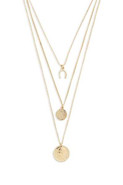 Forever21Women's Layered Coin Charm Necklace - Gold UK - GOOFASH