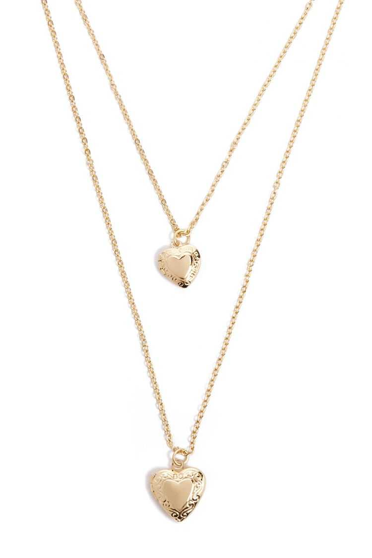 Forever21Women's Layered Heart Locket Necklace - Gold UK - GOOFASH