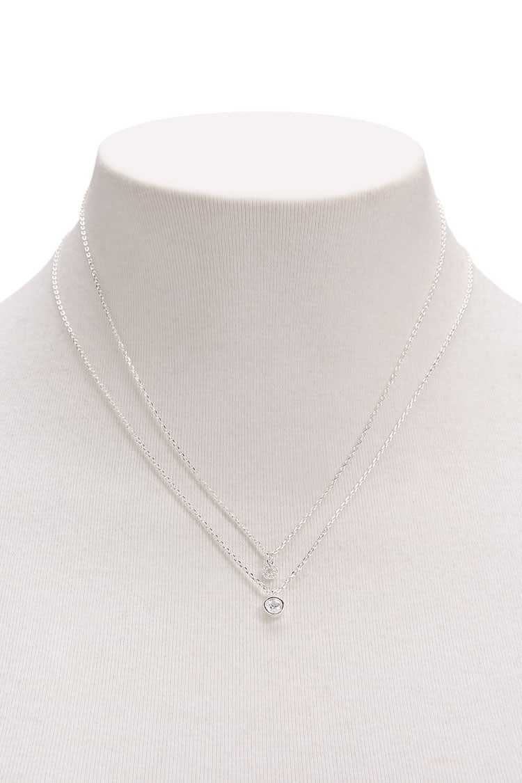 Forever21Women's Layered Pendant Necklace - Silver/Clear UK - GOOFASH