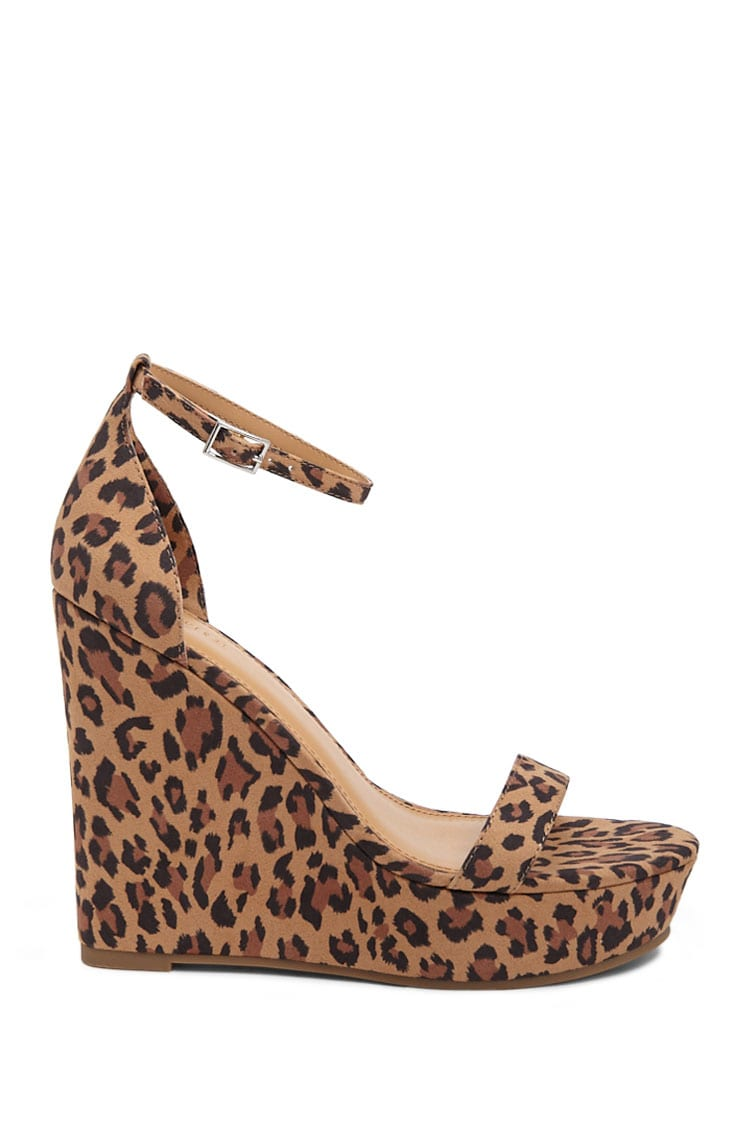 Forever21Women's Leopard Print Wedges - Brown/Multi UK - GOOFASH