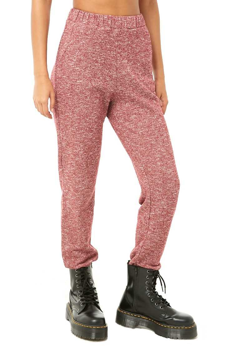 Forever21Women's Marled Knit Jogger Pants - Burgundy UK - GOOFASH