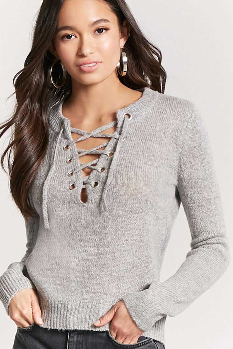 Forever21Women's Marled Knit Lace-Up Jumper Sweater - Grey UK - GOOFASH