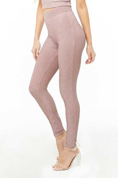Forever21Women's Metallic Ribbed Leggings - Mauve UK - GOOFASH